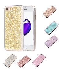 Glitzer Pailletten TPU Hülle iPhone 7 Silikon Schutzhülle Cover Etui Case Gold