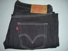 Homme LEVI'S STRAUSS & CO 501 Black Denim Jeans W36 L28 coupe droite altéré