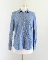J Crew Chambray Denim Printed Popover Shirt Blouse Size XS Anchor Nautical Blue