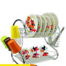 Kitchen Storage 2 Tiers Dish Cup Drying Rack Holder Organizer Drainer Dryer Tray