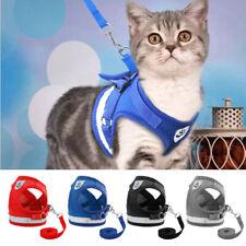 Escape Proof Cat Walking Harness Lead Small Dog Pet Adjustable Mesh Vest Grey