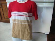 1970's ringer neck t shirt casual shirt men's medium striped groovy brady style