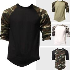 Mens Baseball Raglan 3/4 Sleeve T Shirts Camouflage Sports Team School Dance