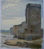Russian Ukrainian Soviet Oil Painting industrial Landscape Impressionism bridge