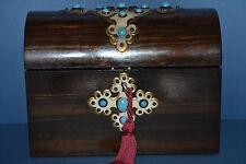 Antique 19th Century Coromandel Stationery Box, Brass & Turquoise Inlay, c 1860