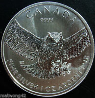 ** 2015 1 oz Great Horned Owl SILVER MAPLE LEAF COIN $5 BIRDS OF PREY Canada