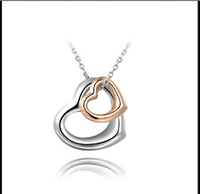 Two Tone Rose Gold Platinum Plated Love Heart Necklace Women Bridal Jewellery