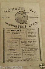 1949 Dorset League: WEYMOUTH v GILLINGHAM - 5th February
