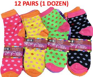 12 Pairs Women's High Cut Ankle Socks In Polka Dot Print Sock Size 9-11