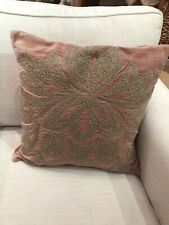 "Pottery Barn  Pillow Cover Chantal Embroidered BLUSH PINK 20"" X 20""NWOUT"