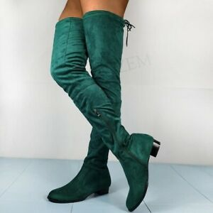 Faux Suede Women Over Knee Boots Zip Low Heels Boots Thigh High Basic Boot Shoes