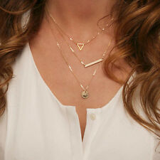Golden Multi-Layer Bar Triangle Disk Charm Pendant Drop Chain Necklace NL54
