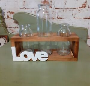 New wooden 3 single stem flowers bottles vases shabby chic holders love quirky