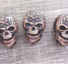 Lot 10 Metal Copper Skull Head Bead Jewelry Making Bracelets Leather Crafts DIY