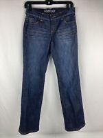 New York & Company Womens Flat Front Dark Wash Bootcut Blue Denim Jeans Size 2P