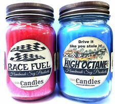 Combo - High Octane and Race Fuel Set of Two 16oz Country Jar Soy Candles Great
