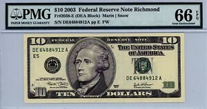 $10 2003 Federal Reserve Note Richmond  Fr#2038-E (DEA Block)  PMG 66 EPQ