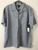 David Taylor Collection Men's Textured Camp Shirt Button Down Gray NWT Large