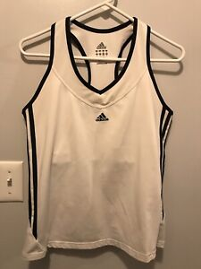 Adidas Womens White Racerback Athletic V-neck Tank W/Black Side Stripes Sz Large
