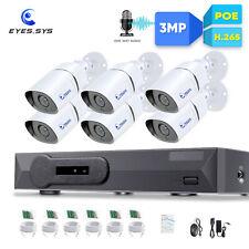 Eyes.sys 6pcs 3MP HD 36IR CCTV Bullet Camera 8CH 5MP Net POE NVR Security system