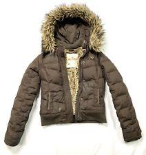 Hollister Women's Brown Down Coat Faux Fur Lined - Medium