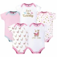 Hudson Baby Bodysuits, 5-Pack, Little Llama