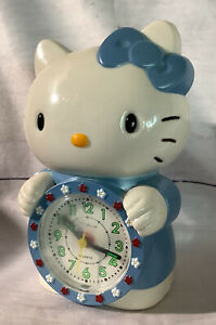 Blue HELLO KITTY vintage alarm clock round face w/ numbers working condition