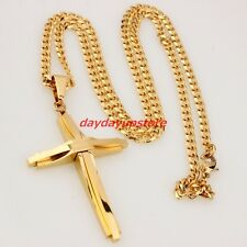 Trendy Men's Women's 18k Gold Cuban Chain Stainless Steel Cross Pendant Necklace