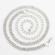 3 Row Diamante/Diamond Ladies Waist Chain/Charm Belt in Silver-One Size Fits All