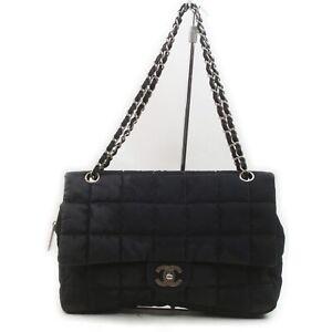 CHANEL Shoulder Bag Chain Chocolatebar Black Fabric 841101
