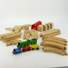 Thomas the Tank Engine Train LOT w/ Percy Tunnel Ramps 40 pcs Wood Tracks