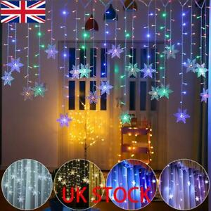 2M LED Snowflake Fairy String Curtain Window Lights Christmas Party Home Decor