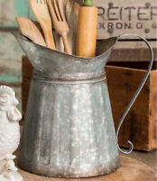 LARGE GALVANIZED MILK PITCHER WITH HANDLE-KITCHEN UTENSIL HOLDER/CADDY/VASE