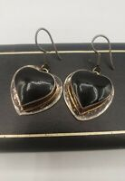 Onyx Heart 925 Taxco Mexico Vintage Dangle Drop Heart Earrings Sterling Silver
