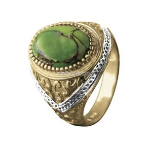 Natural Green Turquoise Gemstone Gold Plated 925 Sterling Silver Men's Ring 1797