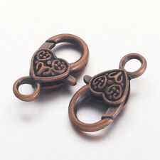 2 Large Heart Clasps Jewelry Antiqued Copper Big Lobster Parrot Findings
