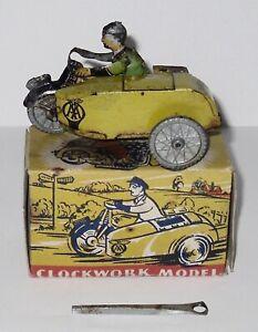 Vintage Mettoy - Clockwork - AA Patrol Motorcycle & Sidecar - Boxed With Key.