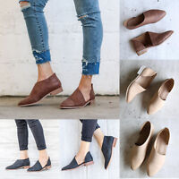 Women Low Heels Slip On Ankle Boots Casual Chunky Gladiator Loafers Flat Shoes