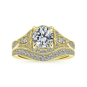 Sparkling Solid 18K Yellow Gold 1.80 Ct Real Diamond Wedding Band Set Size N O P