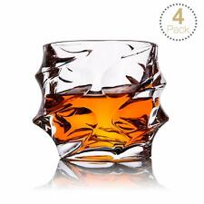 Whisky Glasses Set of 4 Ultra Clarity Tumblers Lead Free Old Fashioned +Gift