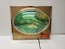 Budweiser Beer Lighted Trout Fish Sign 3d Bubble Dome Vintage Bar Display King