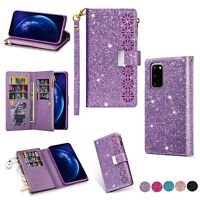 For Samsung Galaxy S20+/Note 10/S10/S9 Bling Flip Leather Card Wallet Case Cover