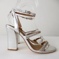 SABA Women's Shoes NEAR NEW  Silver High Heel Leather Sandals rrp $249 Size 38