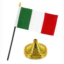 "Italy Italian Flag 4""x6"" Desk Set Table Stick Gold Base (premium polyester)"