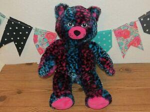 "Build A Bear Wild about Spots Leopard Pink Blue Cheetah Dark Black Plush Toy 20"""