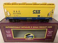 ✅MTH PREMIER CSX 2 BAY CENTERFLOW COVERED HOPPER CAR 20-97492! FOR O SCALE SET