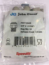 John Guest PI 011202S straight adpt-BSPT thread, 3/8 tube, 1/4 BSPT (bags of 10)