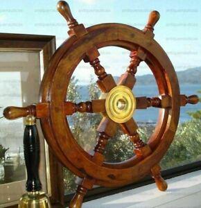 Ship's Teak Wood Steering Wheel 24 Inch Antique Style Brass Center