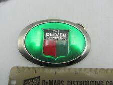 Vintage Green Enamel Metal Oliver Tractors Farm Equipment Co Belt Buckle