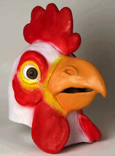 ADULT LATEX WHITE CHICKEN MASK ROOSTER COCK FARM ZOO ANIMAL COSTUME MASKS